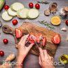 pizza vegetable knife